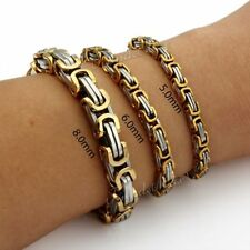 5/6/8mm MENS Chain Boys Silver Gold Byzantine Stainless Steel Bracelet 7-11inch