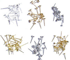 Stud Earstud Earring Post Cup Gold Silver Surgical Steel Brass w/ Loop, 100 Qty