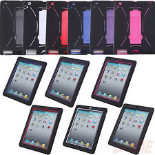 Kids Shockproof Heavy Duty Hybrid Hard Shell Rubber Case Cover Stand iPad 2 3 4