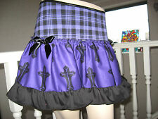 NEW Black Purple Gothic Cross Tartan Check Frilly Skirt Punk rock Party Gift