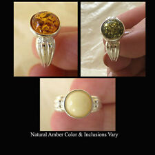 BALTIC HONEY, BUTTERSCOTCH or GREEN AMBER & STERLING SILVER HANDMADE RING