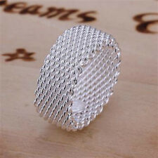 Free shipping 925 Sterling silver net Ring all size gift box R040