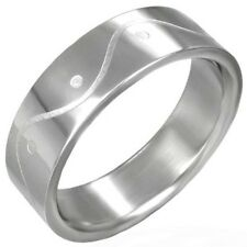 Stainless Steel Wave ETCHED Unisex Mens or Womens SIZE Ring NEW