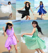 Hot Summer Fashion Casual Solid Voile Chiffon Bowknot Fairy Sleeveless Dress
