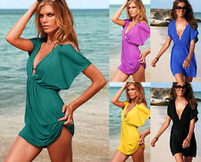 LADIES BEACH KAFTAN FASHION DRESS COVER UP BIKINI BLACK WHITE RED BLUE