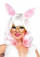 NEW Womens CUTE White Bunny Two Tone Wig with Attached Ears and Adjustable Strap