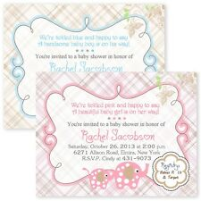 Plaid Elephant Boy Girl Baby Shower Invitations Your Color Personalized