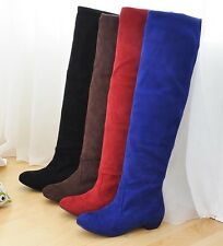 Women Knee High Low Heel Boots New Ladies Stretch Shoes AU All Size F32