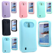 For ZTE Force N9100 Neon Dual Flex 2PC Soft Gel Skin Case Hard Cover Free Stylus