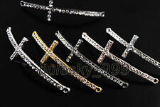10 Crystal Rhinestones Curved Charms Corss Bracelet Finding Connectors Links48mm