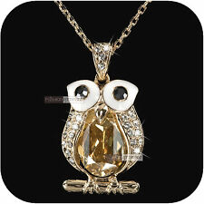 18k white rose gold gp made with SWAROVSKI crystal night owl pendant necklace