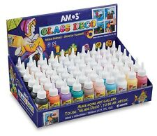AMOS STAINED GLASS DECO PAINT 60ML BOTTLE PEELABLE WHEN DRY NON TOXIC ART CRAFT