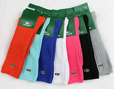 NEW LACOSTE CROC LOGO RIBBBED CREW COTTON LONG SOCKS 8.5-12 41-46