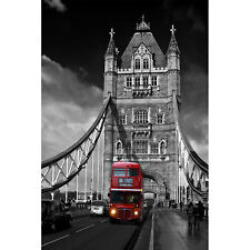 Poster - LONDRA TOWER BRIDGE BUS RED LONDON INGHILTERRA - Gigante Tela Canvas