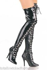 """Seduce 3024 5"""" D-Ring Lace Up Stretch Thigh Crotch Boot 6 -16 Domina Boots"""