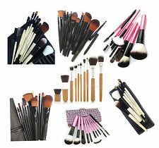 LyDia Professional Narutal Wooden/ Black Handle Make Up Brush Set with Case