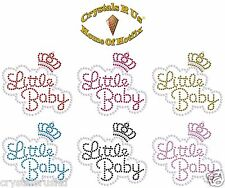 LITTLE BABY crown sm IRON-ON DIAMANTE RHINESTONE BLING KID PARTY CLOTH TRANSFER