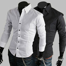 New Mens Slim Fit Casual Spot Cotton Dress Shirt Fashion Stylish 2 Colors 4 Size