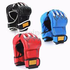 Leather Boxing Gloves Punching Sparring Ultimate Grappling Fight Mitts MMA UFC