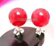 SALE 10mm AAA Red Perfect Round Jade earring &silver S925 stud-ear130 Free Ship