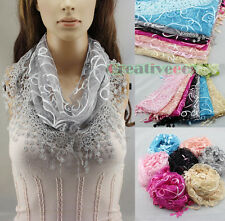 Lace Sequins Elegent Shawl Ribbon Butterfly Triangle Scarf Wrap Cover-up Tassel