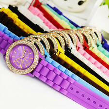 Hot sell ! Pretty Stylish Silicone Crystal Teenager Lady Girls Jelly Watch, R3