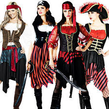 Pirate Lady Fancy Dress Ladies Pirates Costume Adult Halloween Outfit + Tights
