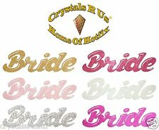 FABRIC GLITTER WEDDING BRIDE HEN STAG PARTY IRON-ON FANCY TSHIRT APPLIQUE PATCH