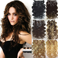 ANY COLOR &LENGTH 70g 100g CLIP IN REAL HUMAN HAIR EXTENSIONS WAVY BODY HAIR