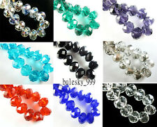 20pcs Faceted Glass Crystal Rondelle Finding Charms Loose Beads 16x12mm Colors