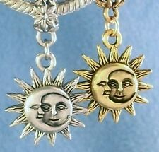 Sun Moon Celestial Charms Slide On Bead, Clip On Add A Charm USA Silver Pewter