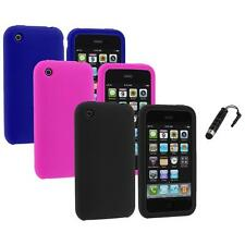 Color Silicone Rubber Gel Skin Case Cover+Stylus Plug for Apple iPhone 3G 3GS