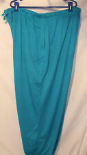 WOMEN'S PLUS SIZE TALL KNIT DRAWSTRING PANTS IN DARK TURQUOISE