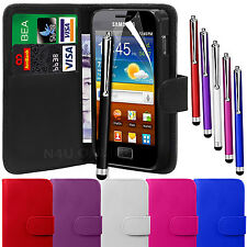 LEATHER WALLET CASE COVER POUCH, LCD FILM & STYLUS FOR SAMSUNG GALAXY ACE S5830