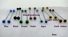 12 PAIR 2mm to 8mm German Glass Eyes on Wire choose size & color teddy bears 201
