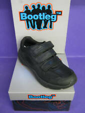 CLARKS BOYS BOOTLEG AIR HUMBER BLACK LEATHER Riptape SHOES (F) FIT