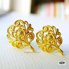 Filigree VERMEIL Gold Earring Posts Flower Ear Post F338V