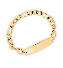 Medical ID Stainless Ladies Gold Bracelet~Diabetes-Coumadin-Engrave-Blank