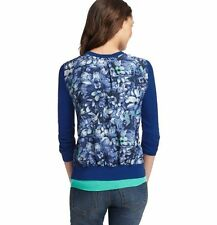 NWT ANN TAYLOR LOFT Blue River Floral Woven Back Ultra Soft Cardigan Sweater $54