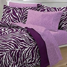 Zebra Purple/White 6-piece Bed in a Bag with Sheet Set