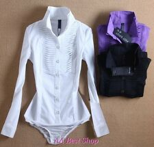 Sexy Bodysuit Pintucked Blouse Jumpsuit Long Sleeve-XS S M