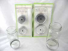 Solid Cut Regular or Wide Mason Jar Sip Drink Lids w/ Acrylic Straws  FREE SHIP