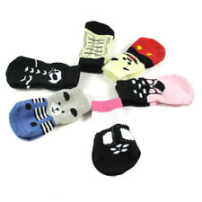 Pet Dog Indoor Soft Cotton Anti-slip Knit Weave Cute Warm Sock Skid Bottom 4Pcs