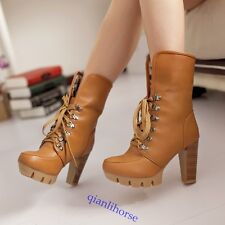 2 Ways ! Sexy Leopard Women's Lace-up Chunky High Heel Ankle Snow Boots US5-10.5