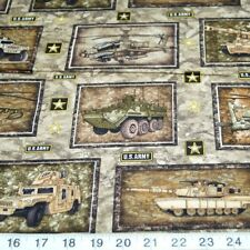 Sale Tanks Trucks Helicopters U.S Army Squares 100% Cotton Patchwork Fabric