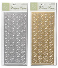 56pc SILVER or GOLD Double Heart Foil WEDDING Stickers Victoria Lynn OPTIONS