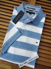 * AUTHENTIC* NEW TOMMY HILFIGER BLUE WHITE STRIPES INTERLOCK POLO SHIRT L XL 2XL