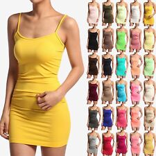 MOGAN Plain Spaghetti Strap LONG TANK TOP DRESS Basic Layering Cami sole SLIP