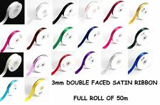 3mm (1/8'') x 50m SATIN RIBBON Double Sided Faced - Full Roll - Buy 2 Get 1 FREE