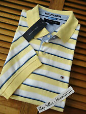 ** NEW ** TOMMY HILFIGER YELLOW WHITE INTERLOCK POLO CASUAL DAILY SHIRT M XL 2XL